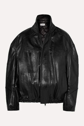 Balenciaga Oversized Leather Bomber Jacket - Black