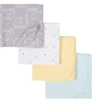 Gerber Baby Boy or Baby Girl Gender Neutral Flannel Receiving Blankets, 4-Pack