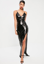 Missguided Tall Exclusive Black Sequin Thigh Split Maxi Dress