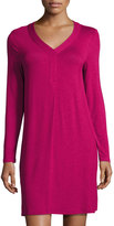 Kensie Long-Sleeve Stretch-Knit Shift Dress, Wine