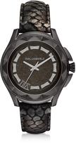 Karl Lagerfeld 7 44mm Python-Embossed Metallic Leather Band Unisex Watch