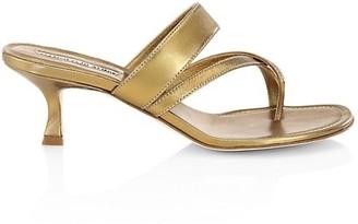 Manolo Blahnik Susa Kitten-Heel Metallic Leather Thong Sandals
