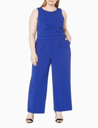 Calvin Klein Plus Size Side Drape Sleeveless Jumpsuit