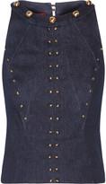 Tamara Mellon Cropped studded stretch-denim top