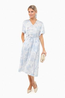 Vince Powder Blue Painted Magnolia V-Neck Dress