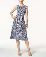 Charter Club Petite Mixed-Stripe Belted Fit & Flare Dress, Only at Macy's