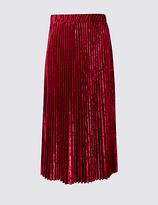 M&S Collection Velvet Pleated A-Line Midi Skirt
