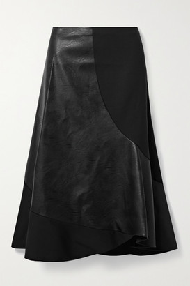 Stella McCartney Brenda Paneled Stretch-wool And Vegetarian Leather Midi Skirt - Black