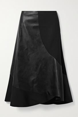 Stella McCartney Brenda Paneled Stretch-wool And Vegetarian Leather Midi Skirt - Black