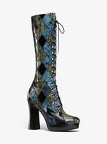 Michael Kors Deandra Patchwork Snakeskin Platform Boot