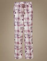 Marks and Spencer Cotton Blend Floral Print Long Pyjama Bottoms