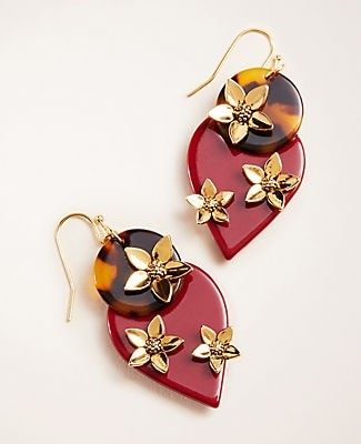 Ann Taylor Resin Flower Statement Earrings
