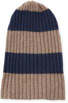 Portolano Men's Rugby-Stripe Ribbed Beanie Hat, Nile Brown/Blue