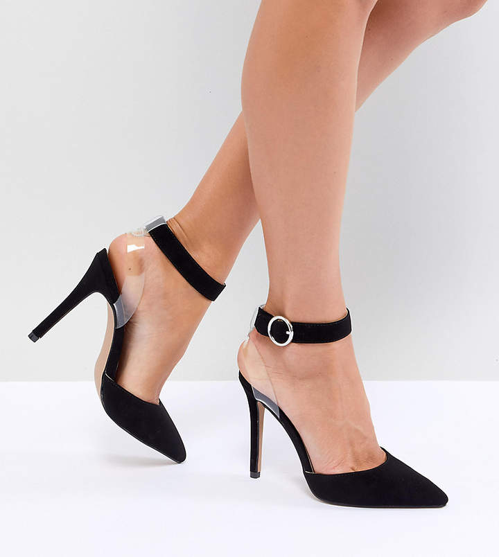 Qupid Clear Strap Pointed Heels