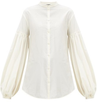Jil Sander Gathered-sleeve Poplin Blouse - Ivory