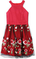 Speechless Embroidered-Skirt Halter Dress, Big Girls (7-16)