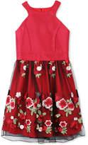 Speechless Embroidered-Skirt Halter Dress, Big Girls