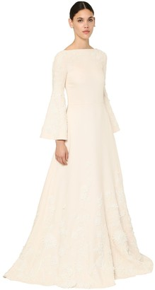 Valentino Long Couture Embellished Crepe Dress