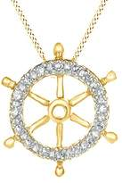 Jewel Zone US Natural Diamond Ship-Wheel Pendant Necklace in 10K Solid Gold (1/20 cttw)