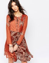 Glamorous Lace Up Dress in Paisley Print