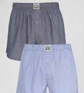 Levi's Levis Chambray Stripe Woven Boxers In 2 Pack Blue