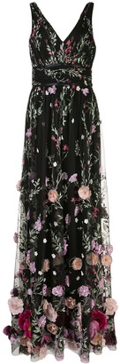 Marchesa Notte 3D Floral sleeveless gown