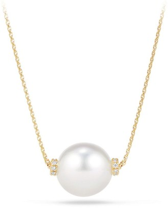 David Yurman Solari Single Station Necklace in 18K Yellow Gold with Diamonds & South Sea White Pearl