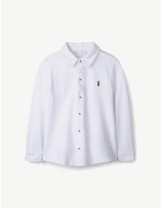 The Little White Company Embroidered cotton-pique long-sleeved polo shirt