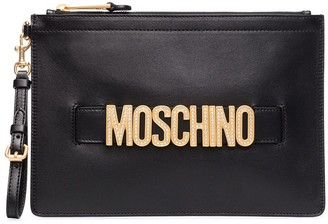 Moschino Logo-Embellished Leather Clutch Bag