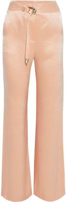 Nanushka Kisa Belted Crinkled Washed-satin Wide-leg Pants