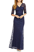 Sangria Scalloped Lace V-Neck 3/4 Sleeve Gown
