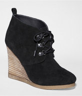 Suede Lace-Up Wedge Booties