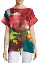 Lafayette 148 New York Lori Short-Sleeve Mambo Magnolia Silk Blouse, Multi Pattern