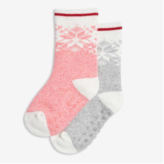 Joe Fresh Toddler Girls' 2 Pack Fair Isle Socks, Cream (Size 1-3)