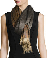 Sabira Faded Paisley Wool & Silk Scarf, Black/Yellow
