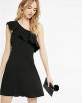 Express ruffled one shoulder skater dress