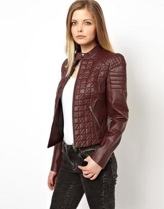 Asos Design ASOS Leather Jacket in Quilt Structured Shoulder