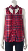Rock & Republic Women's Plaid Cutout Tank