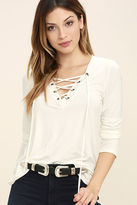LuLu*s Love Song Taupe Long Sleeve Lace-Up Top