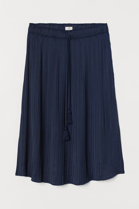 H&M Pleated Satin Skirt - Blue