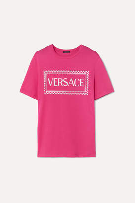 Versace Printed Cotton-jersey T-shirt - Pink
