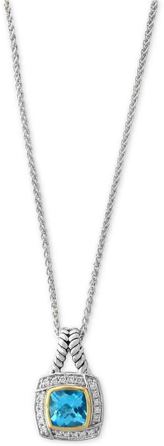 Effy Blue Topaz (1-9/10 ct. t.w.) & Diamond (1/8 ct. t.w.) Pendant Necklace in Sterling Silver & 18k Gold