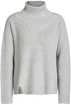 Oui Metallic Detail Roll Neck Jumper, Grey