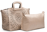 Melie Bianco Stone Nancy Laser Cut Out Tote & Removable Pouch
