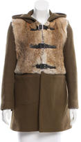 Sandro Fur-Trimmed Wool Coat
