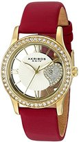 Akribos XXIV Women's AK811RD Quartz Movement Watch with Yellow Gold and See Thru Heart Dial Featuring a Red Satin Strap