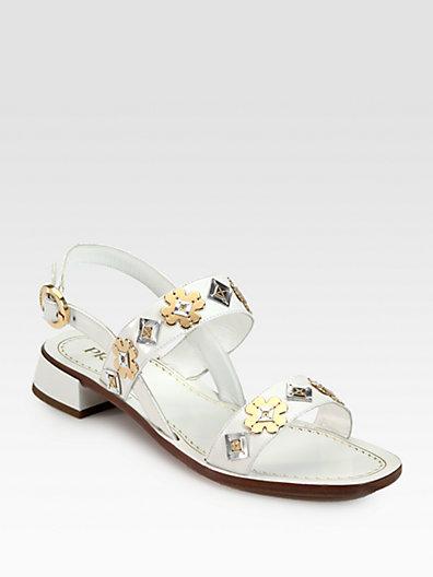 Prada Leather Flower Applique Double-Band Sandals