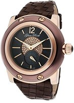 Glam Rock Women's GR10037 Miami Collection Diamond Accented Black Woven Leather Watch