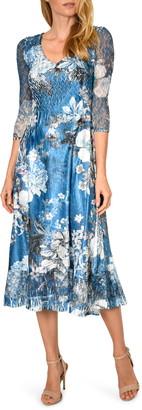 Komarov Floral Print Charmeuse & Chiffon Dress
