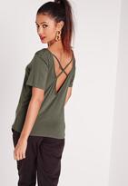 Missguided V-Neck Cross Strap Back T-Shirt Khaki